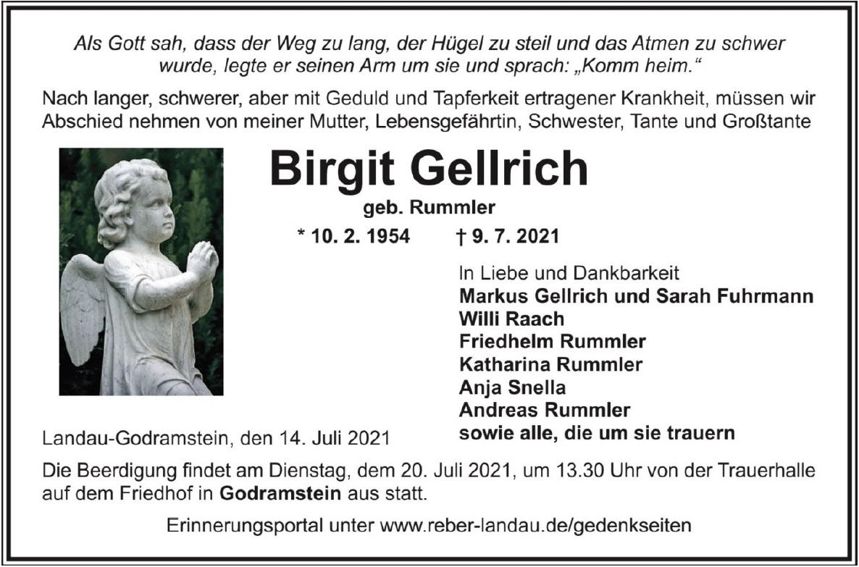 Traueranzeige von  Birgit Gellrich