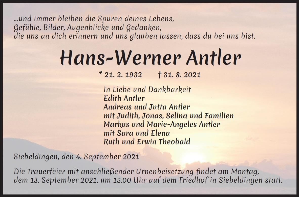 Traueranzeige von  Hans-Werner Antler