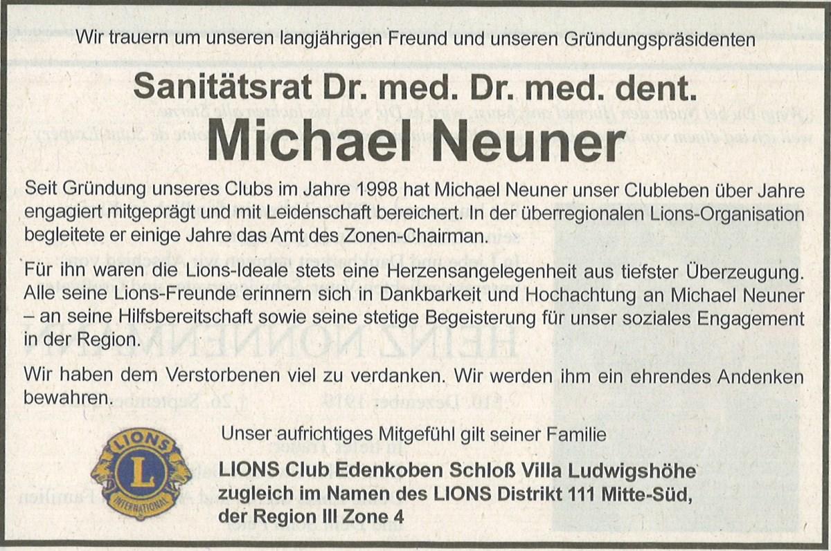 Traueranzeige von Dr. med. Dr. med. dent. Michael Neuner